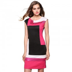 Vestido Geométrico Patchwork Curto Rosa Elegante