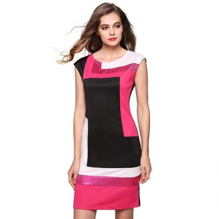 Vestido Geométrica Patchwork Curto Rosa Elegante