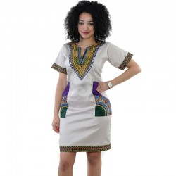 Women's Casual African Fashion Dress and Geometric Patterned Work