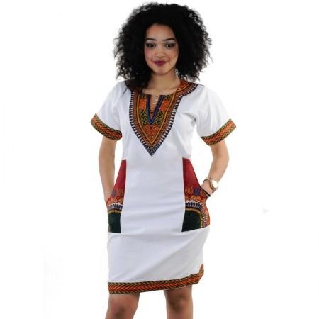 Vestido Feminino Moda Africana Casual e Trabalho Estampada Geometrica