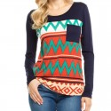 Camiseta Suéter de Inverno Feminino Listrado Azul Marinho Camisola