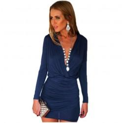 Women's Casual Short Dress Greek Gray and Blue Long Sleeve Silk