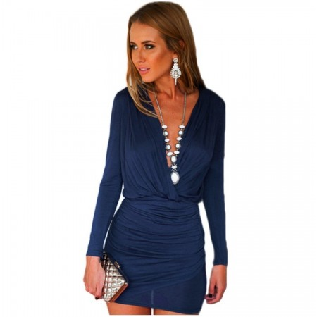 Vestido Feminino Curto Casual Grego Cinza e Azul Manga Longa Seda