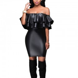 Black Leather Straight Drop Shoulder with Ruffled Empire Ballad