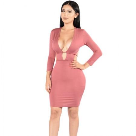 Vestido Vazado de Laço Festa Clube Feminino Rosa e Preto Imperio Médio