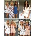 Vestidos de Praia Feminino Curto Branco Floral Saia Solta com Decote