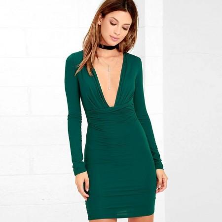 Greek Social Dress Long Sleeve Formal Elegant Slim Green Blue and Wine