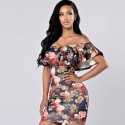 Floral Print Dress Dark Shoulder-to-Shoulder Ruffled Hawaiian Beach Fashion