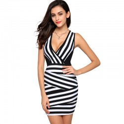 Dress sexy Short Striped Zebra with V-neck