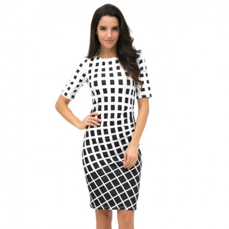 Black and White Chess Women Working Dress Lady Mother
