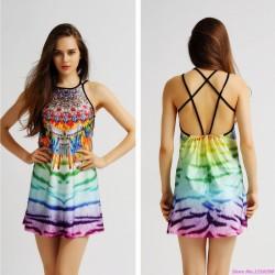 Vestido Tankini Estampado Fofo Moda Praia de Verão Leve Colorido Curto