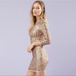 Golden Dress Gold Luxury 3/4 Sleeveless Party New Year Party