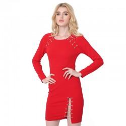 Vestido Vermelho Sangue Romantico Feminino Noite Especial Vazado