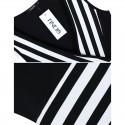 Vestido Sensual Curto Listrado Zebra com Decote em V