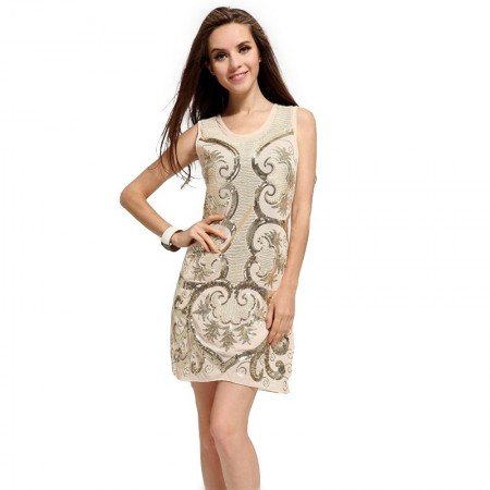 Casual Dress Beige Floral in Paête Short Fine Fashion Spring Regatta