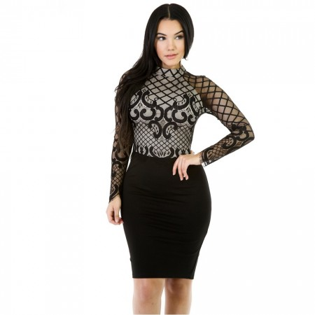 Women's Dress Black Medium Knee Lady Evangelica Mango Lace