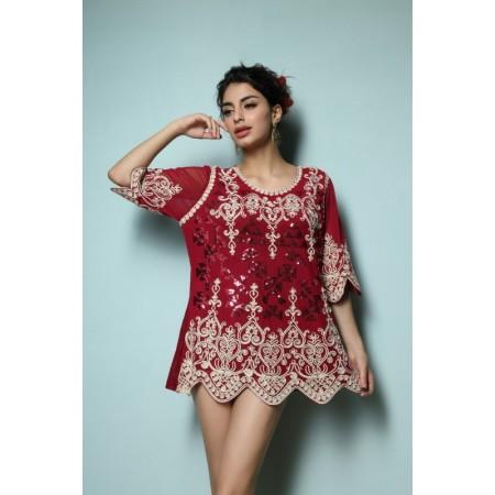 Casual Dress Tankini Beach Fashion in 3/4 Sleeve 3/4 Sleeve Green Black and Red