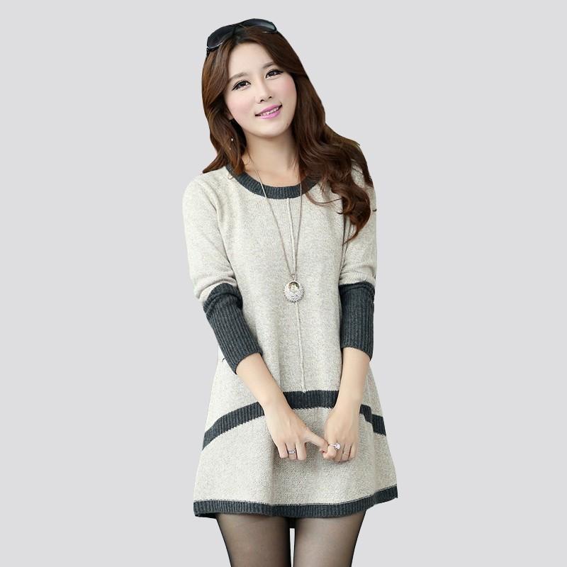 52b2c141e382 Vestido Plusão Feminino de Lã Grossa Frio de Inverno Fofo Manga Longa