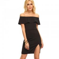 Black Basic Dress Dropped Shoulder with Ruffled Legs on Female Leg