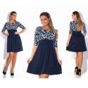 Dress Navy Blue Waist High Femini Floral Sleeve 3/4 Young Princess