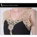 Summer Dress Calitta Beige Color and Black Embroidery in Lace Stitch High Skirt