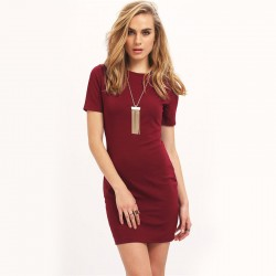 Dress Casual Wine Basic Clean Female Work Short Daily Use