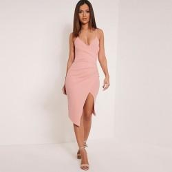 Vestido Rosa Vazado Festa Clássica Médio Sobreposto Elegante Fino
