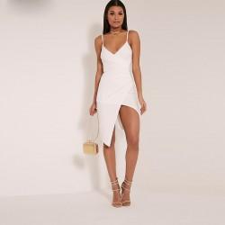 Vestido Branco Vazado Festa Clássica Médio Sobreposto Elegante Fino