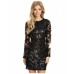 Black Evening Dress Embellished Floral Decor Prom Ball Luxury Long Sleeve
