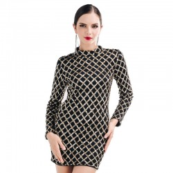 Classic Dress Special Event Black with Gold Checked Elegant