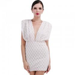 White Handkerchief Crossed V Neckline Long Shoulder Elegant Social Party