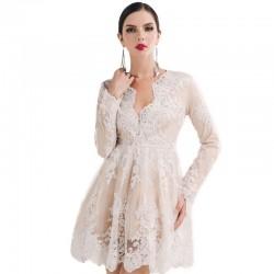 Vestido Madrinha de Casamento Bordado Floral em Renda Branco Bege Diamante
