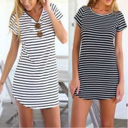 Black and White Striped Dress Fashion Beach Light Casual Short Female