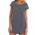 Black and White Striped Dress Fashion Beach Light Casual Short Female