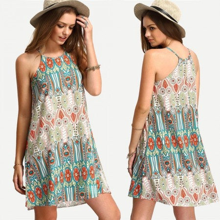 Vestido Estampado Geometrico Moda Praia Tankini Leve Bonito da Moda