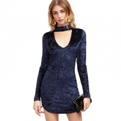 Elegant Strong Blue Dress with Arcola Neck Luxury Velvet Long Sleeve