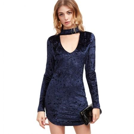 Elegant Strong Blue Dress with Arcola Neck Luxury Velvet Long Sleeve