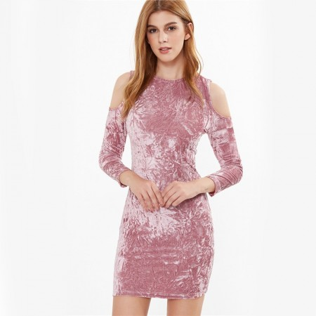 Dress Pink Color Washed Stains Faded Shoulder Dropped Dropped