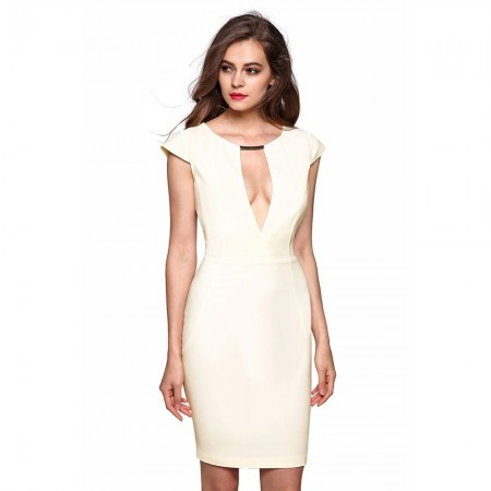 Elegant Beige Dress for Work With Plunging Neckline