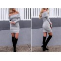 Winter Shoulder Over Shoulder Fabric Thick Gray Long Sleeve