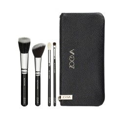 Estojo Básico de Maquiagem kit com 4 Pinceis Brushes Olhos e Rosto