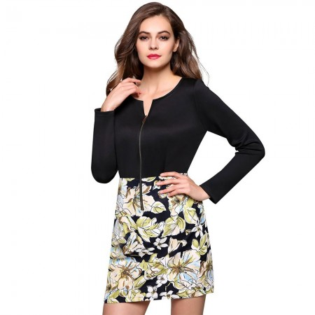 Dress Short Floral Black Long Sleeve Elegant Fashion