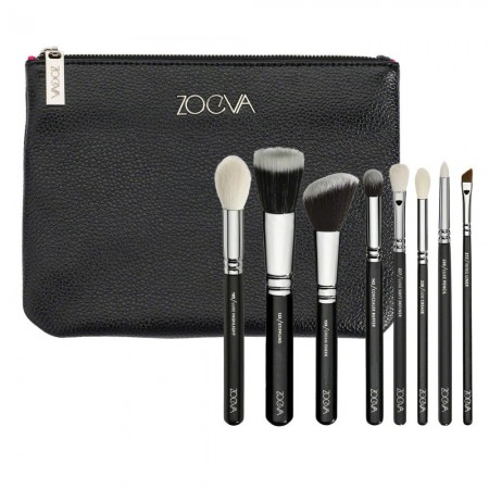 Soft Makeup Brush Set with 8 Brushes and Case