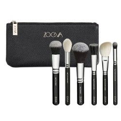 Soft Compact Makeup Case Set with 6 Brushes and Bag