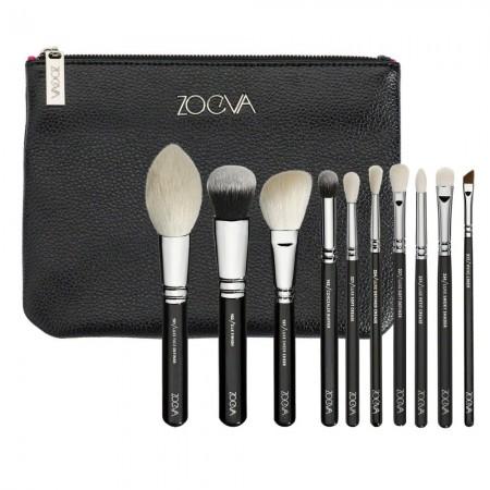 Black Makeup Bag with 10 Soft Brushes