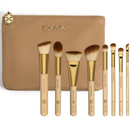 Kit 8 Pinceis de Maquiagem Dourado Jogo de Conjunto Estojo e Bolsa