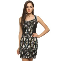 Satin Dress Casual Short Black in Geometrico Embroidery Basics