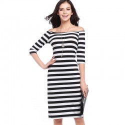 Dress Striped Medium Knee Sleeve 3/4 Social Shoulder Dropped Light Color Black and White