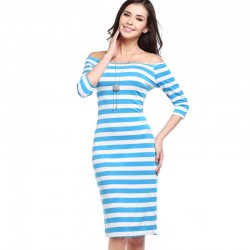 Dress Striped Medium Knee Sleeve 3/4 Social Shoulder Dropped Light Color Blue