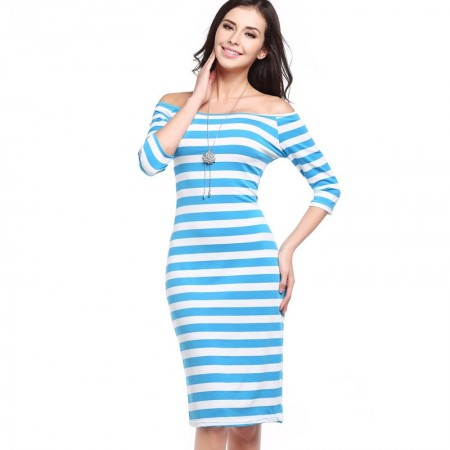 Dress Striped Medium Knee Sleeve 3/4 Social Shoulder Dropped Light color Blue